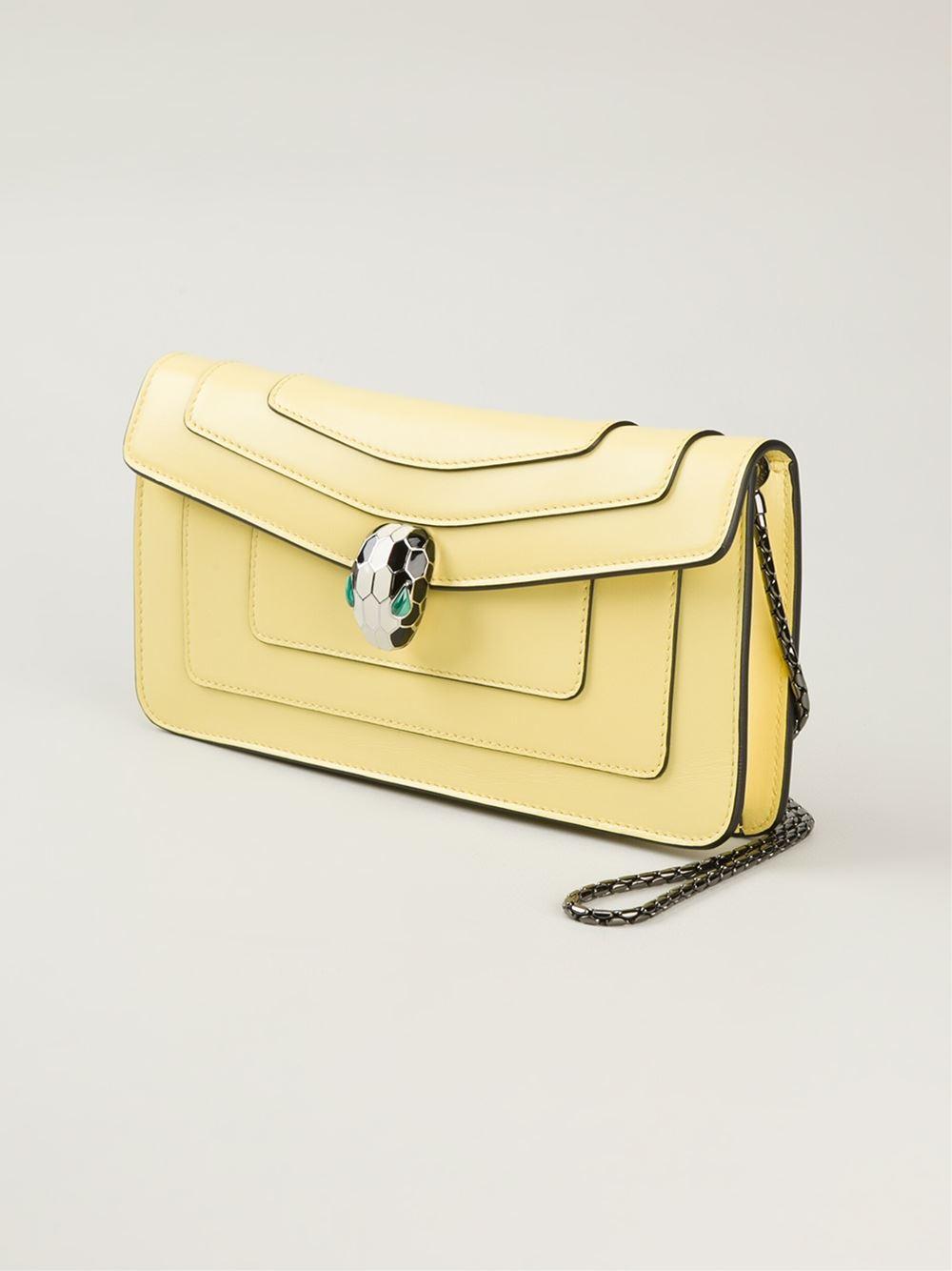 c88d2b4b6d27 BVLGARI Serpenti Forever Calf-Leather Shoulder Bag in Yellow - Lyst