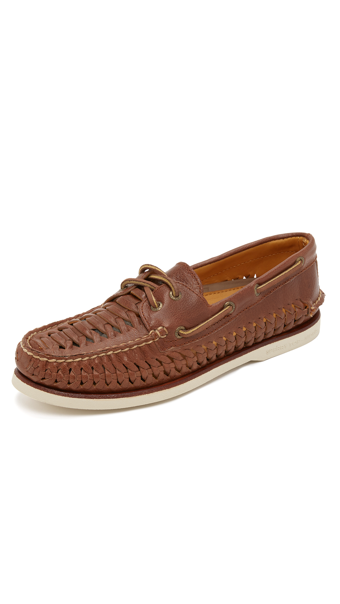 Woven Leather Boat Shoes