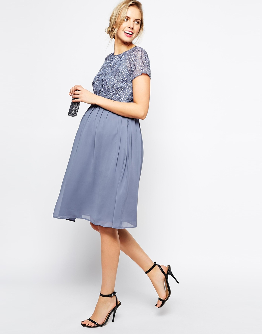 Asos maternity exclusive embellished midi dress in green lyst gallery ombrellifo Choice Image