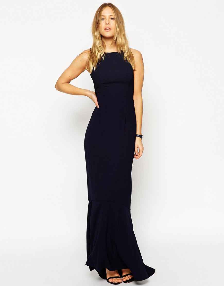 Lyst asos wedding maxi dress with fishtail navy in blue for Maxi dress evening wedding
