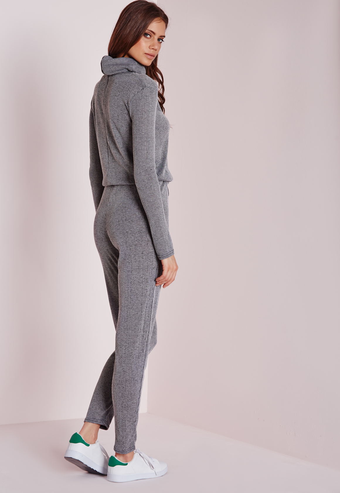 37eb9ca4a998 Lyst - Missguided Long Sleeve Ribbed Drawstring Jumpsuit Grey in Gray