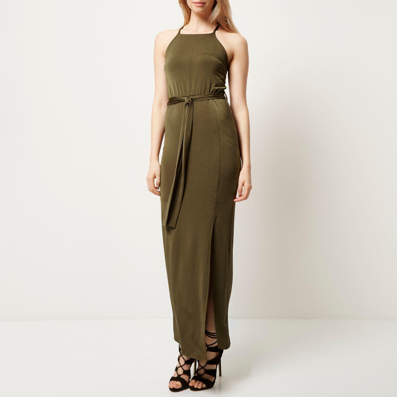 River island Khaki Slinky Cami Maxi Dress in Natural  Lyst
