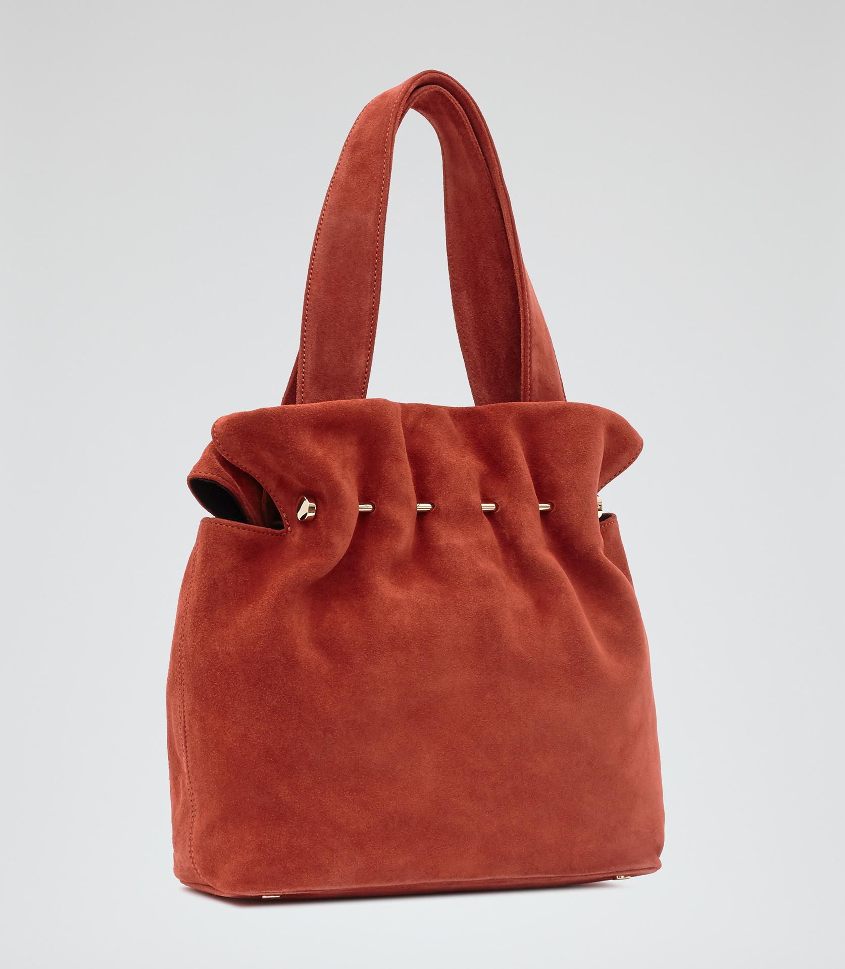 Reiss Cassius Suede And Metal Tote in Rust (Brown)