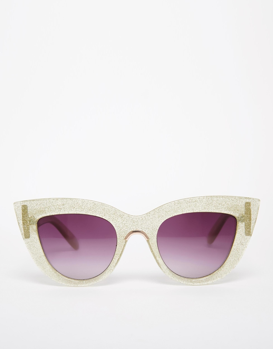 Flat Top Cat Eye Sunglasses  asos flat top cat eye sunglasses in glitter with metal nose insert