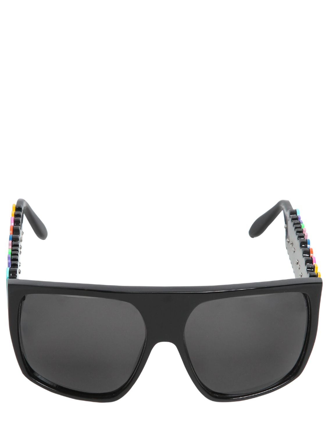 Moschino Logo Lettering Mask Sunglasses in Black