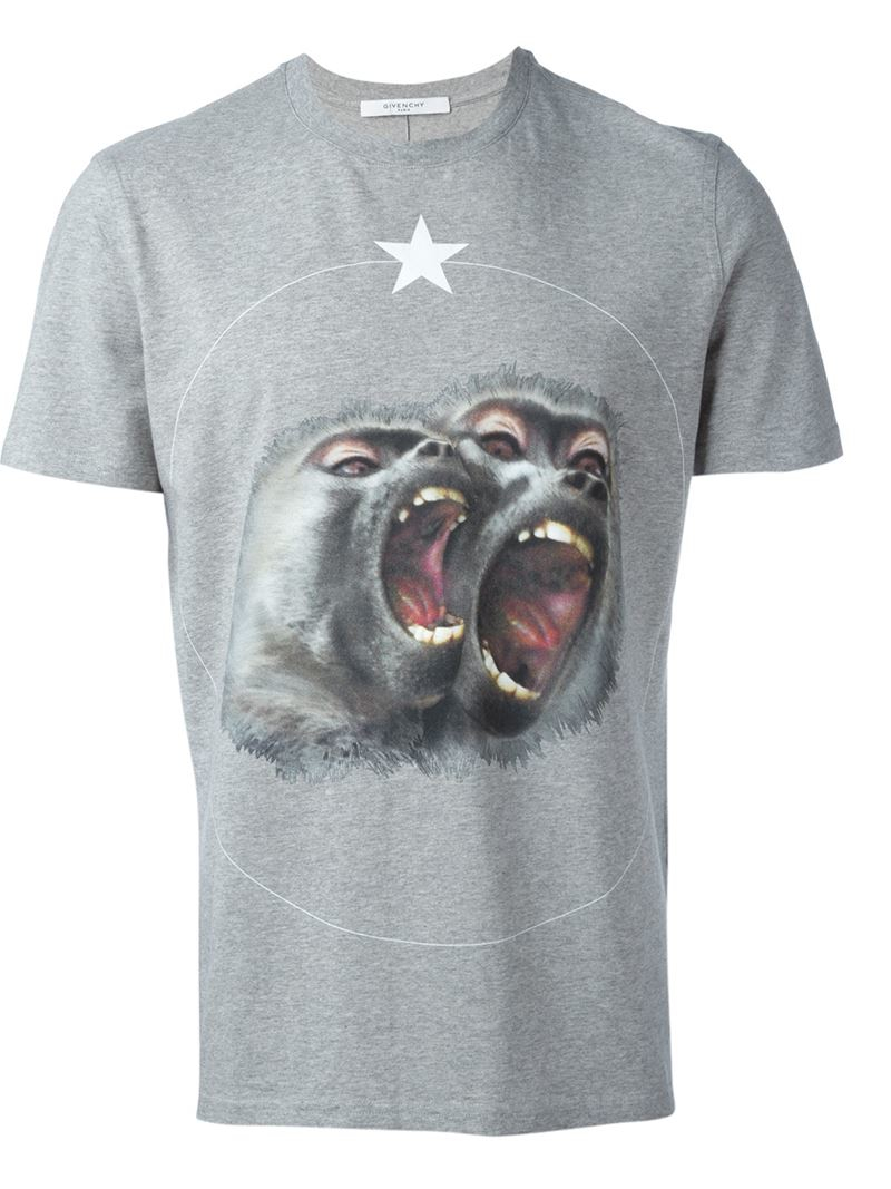 Givenchy Baboon Print T Shirt In Gray For Men Grey Lyst