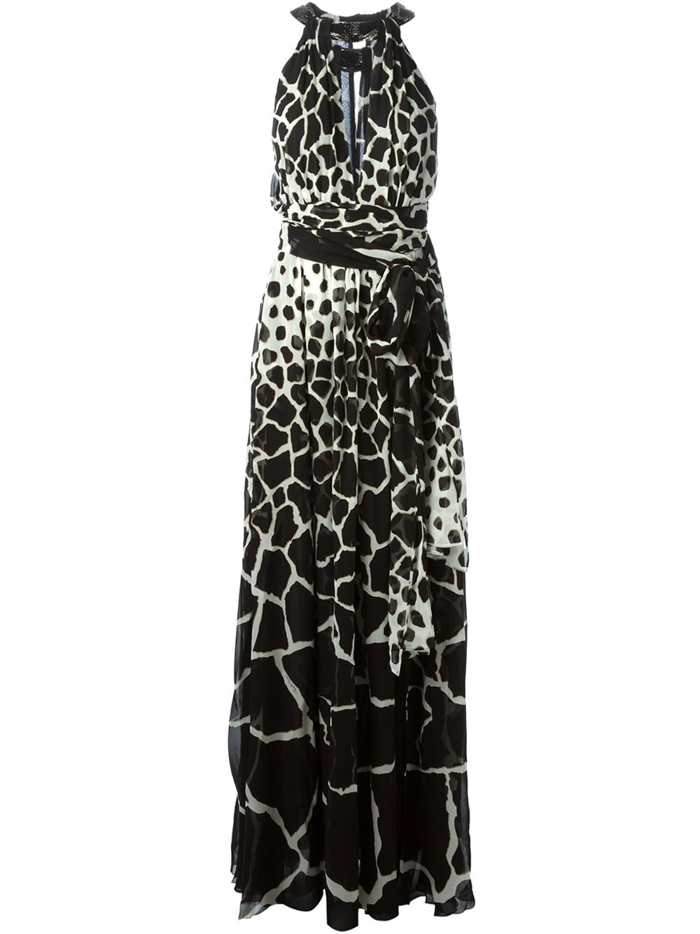 roberto cavalli animal print maxi dress in black lyst