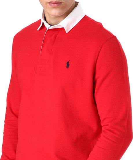 Ralph Lauren Rugby Long Sleeve Polo Shirt In Red For Men