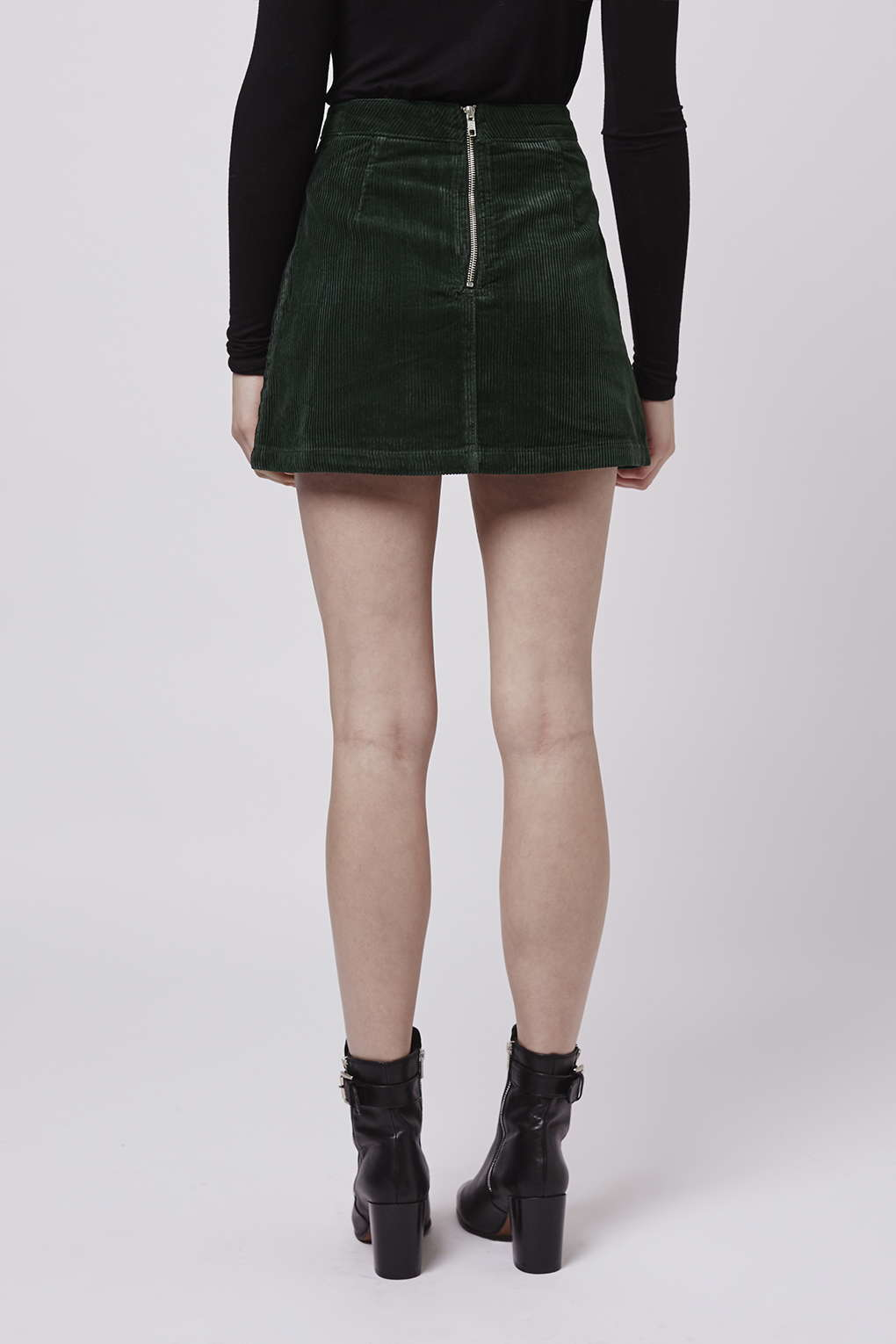 topshop patch pocket cord a line skirt in green lyst
