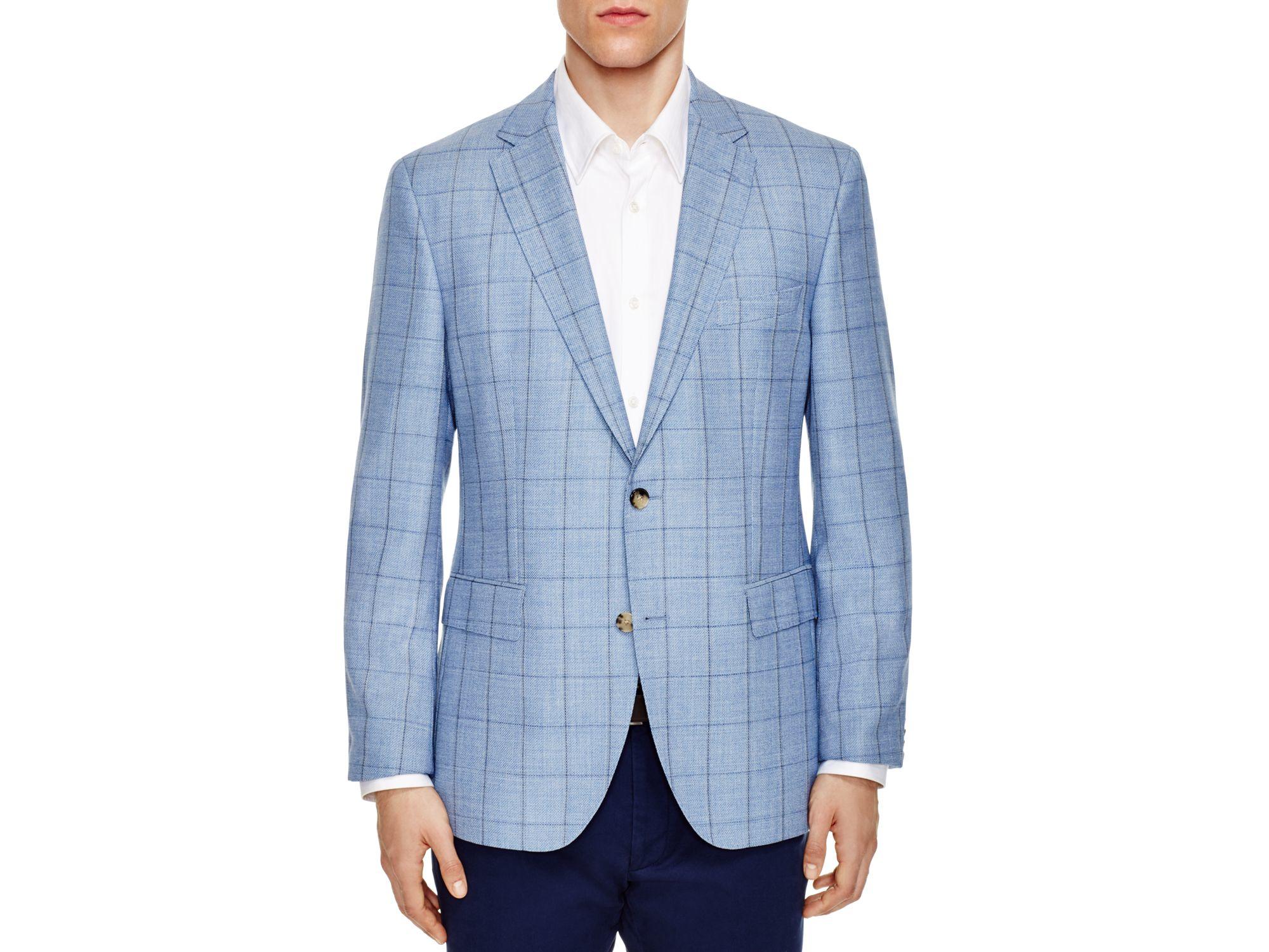 Boss Windowpane Regular Fit Sport Coat In Blue For Men Lyst