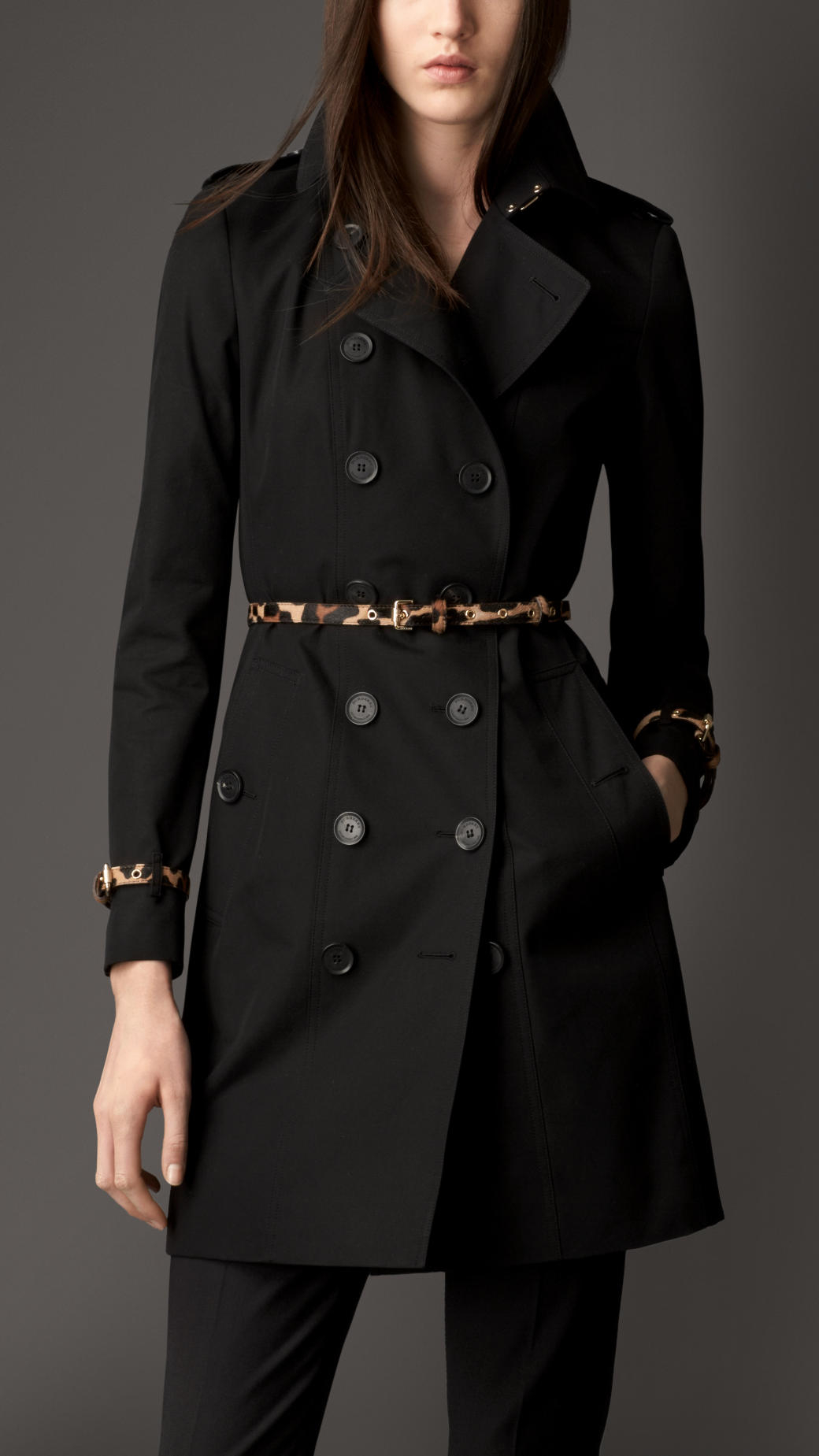 Burberry Mid Length Trench Coat With Animal Print Trim In