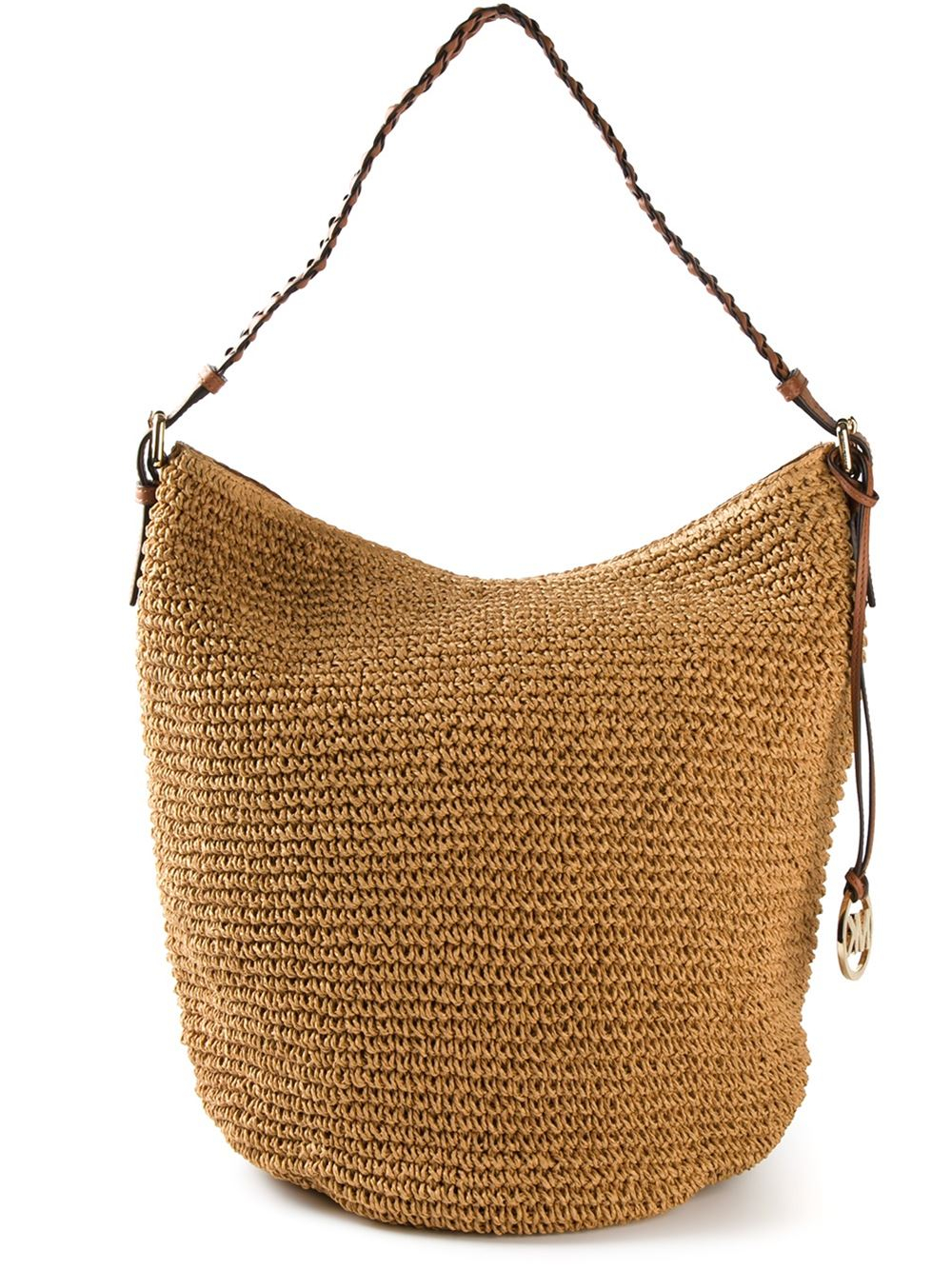 michael michael kors raffia hobo bag in brown lyst. Black Bedroom Furniture Sets. Home Design Ideas