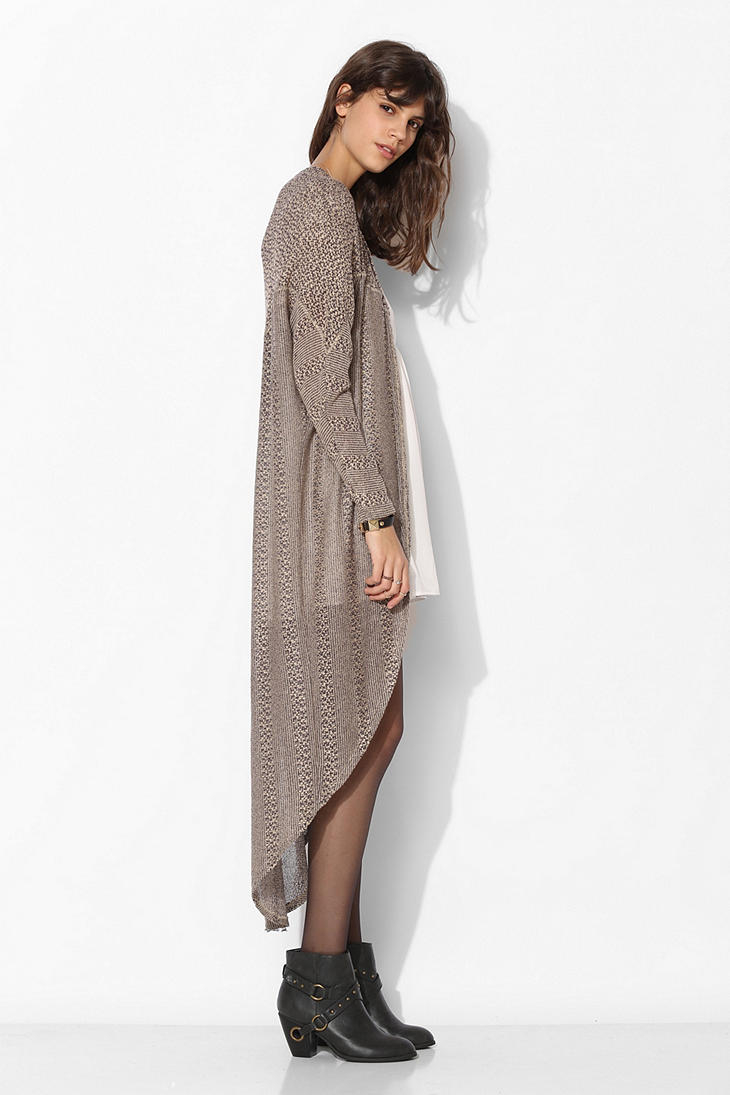 Ecote Mixed Maxi Cardigan in Gray | Lyst