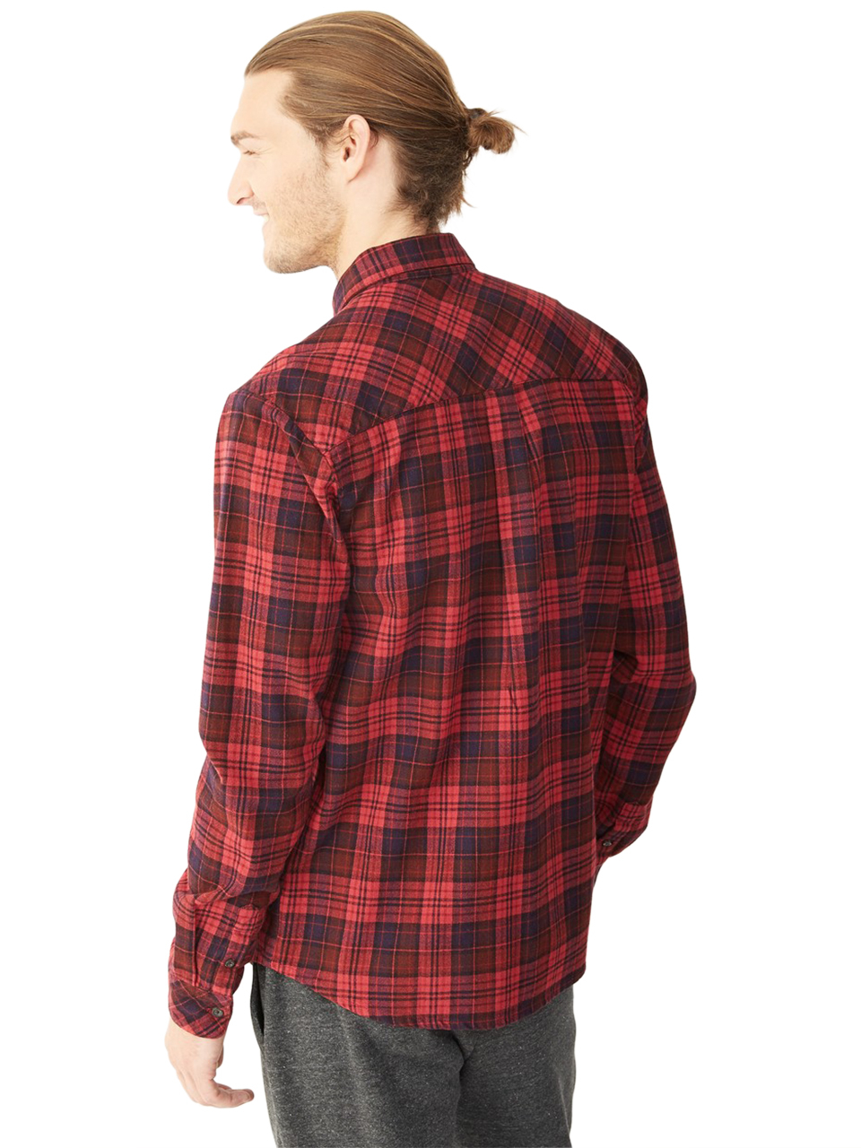 Alternative apparel flannel button up shirt in red for men for Button up flannel shirts