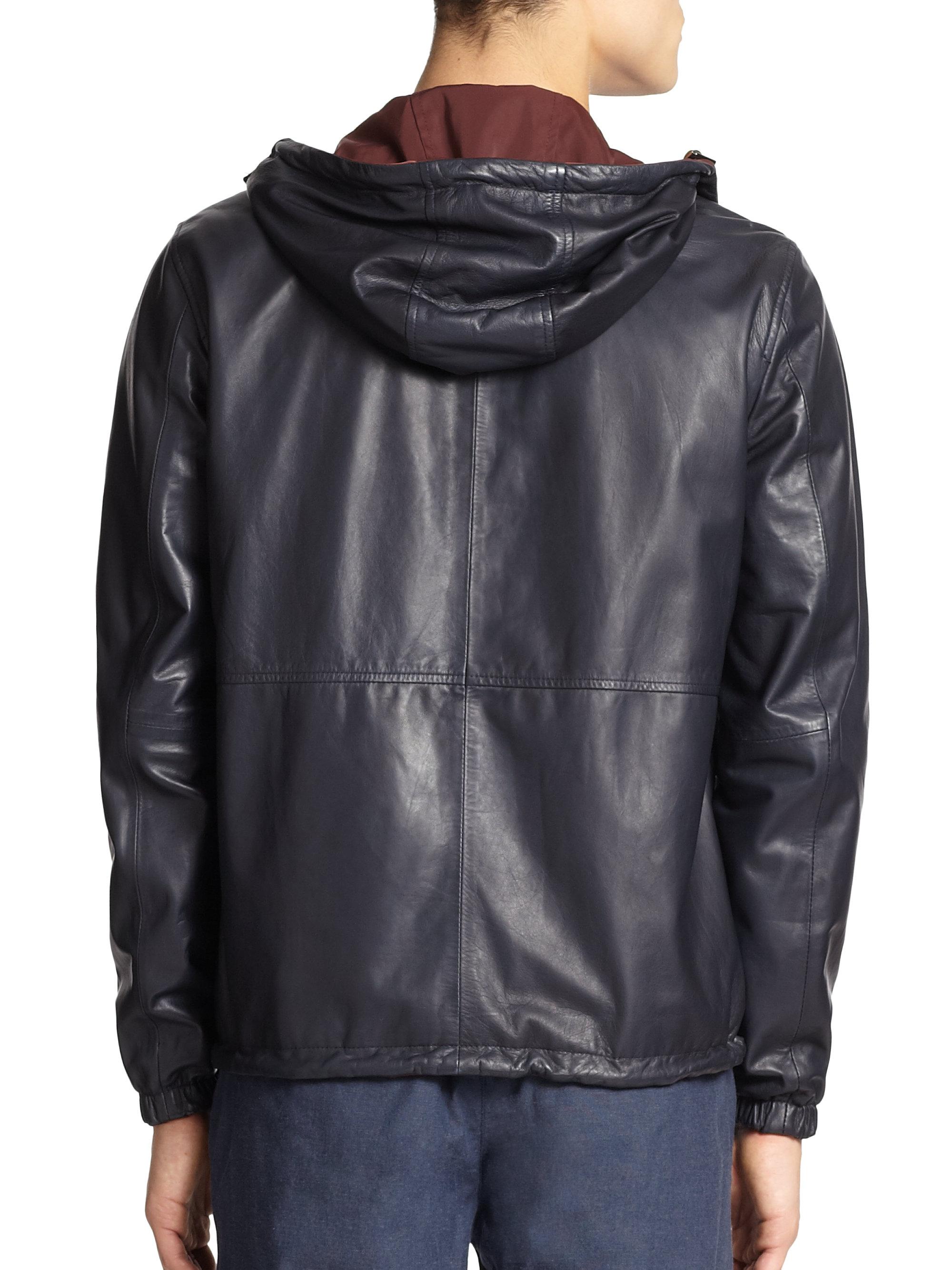 Vince Hooded Reversible Leather Jacket In Navy Burgundy