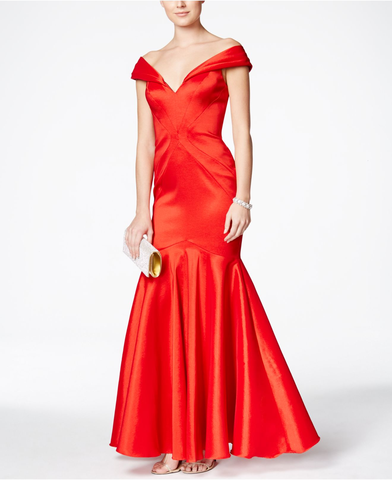 Lyst - Xscape Off-the-shoulder Mermaid Gown in Red