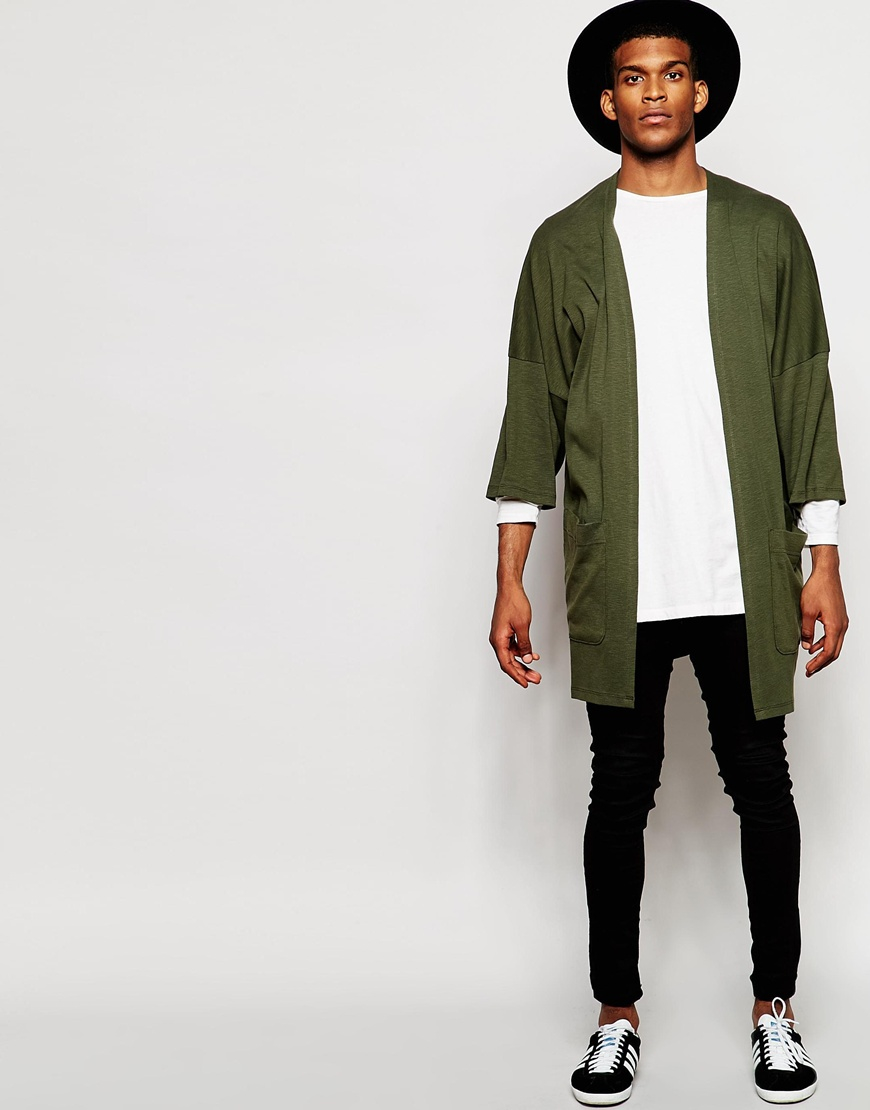 Asos Oversized Kimono Cardigan In Khaki Slub Jersey in Natural for ...