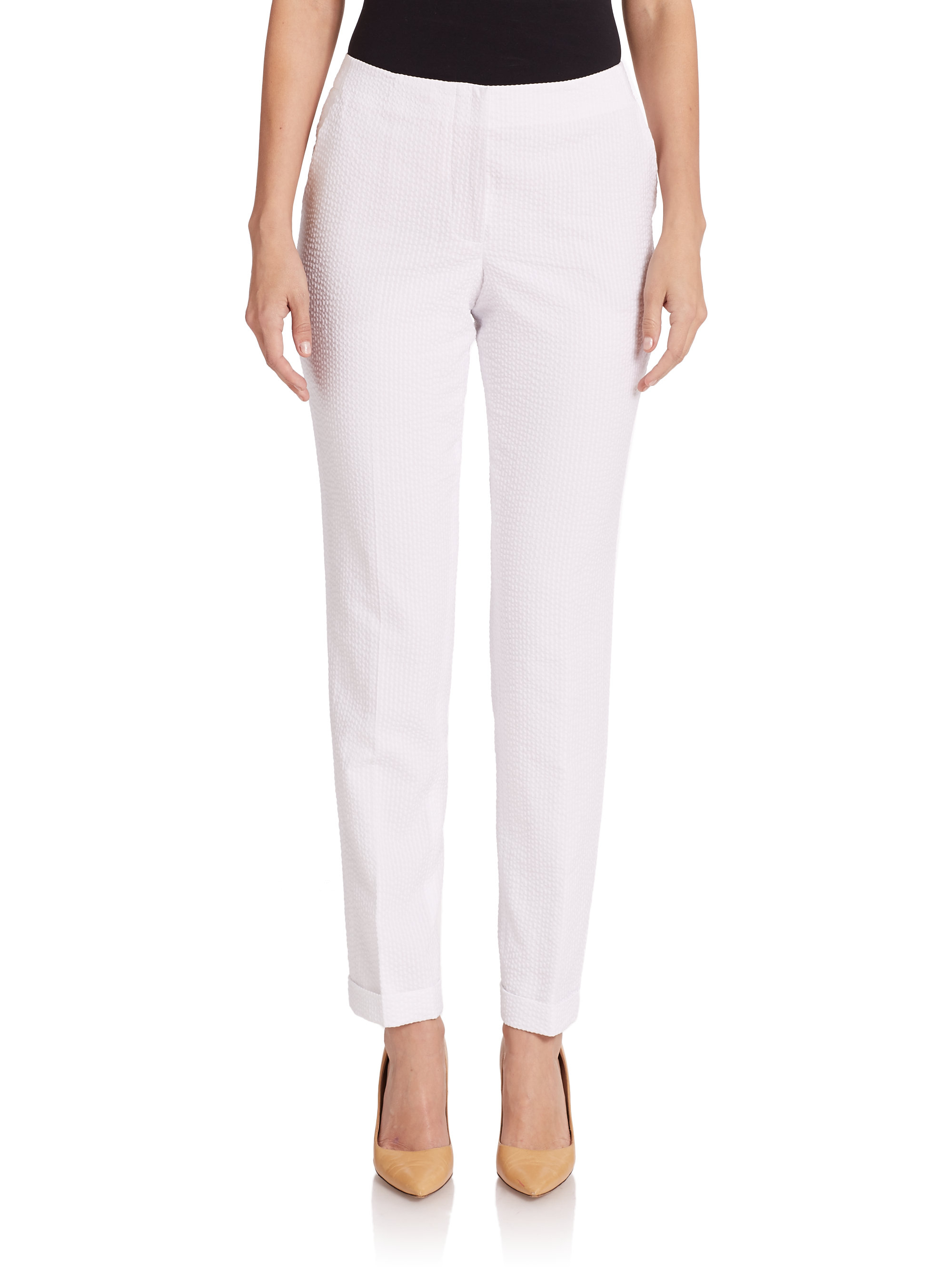 6314deee0388 Lyst - Akris Seersucker Slim-Leg Pants in White