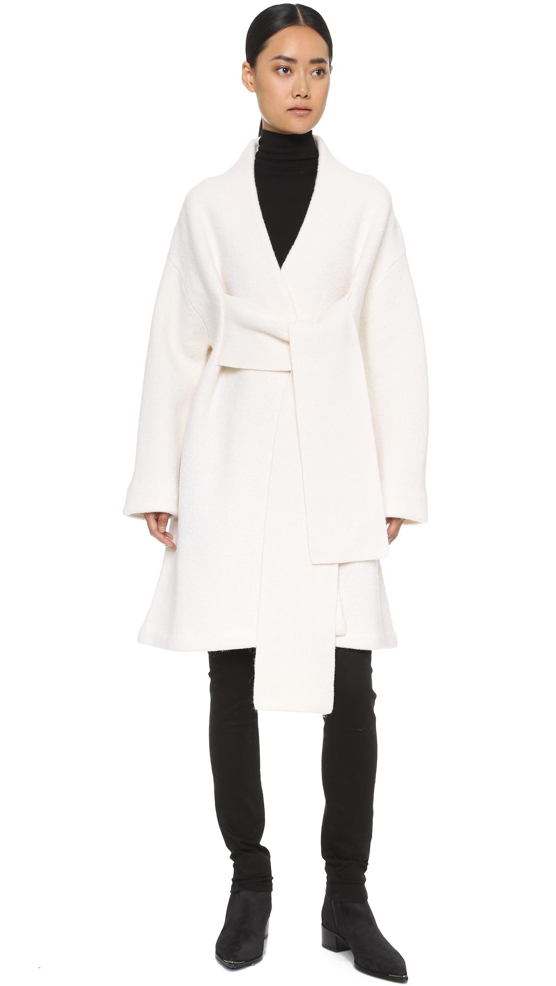 Lyst Acne Studios Hava Sweater Coat Off White In White