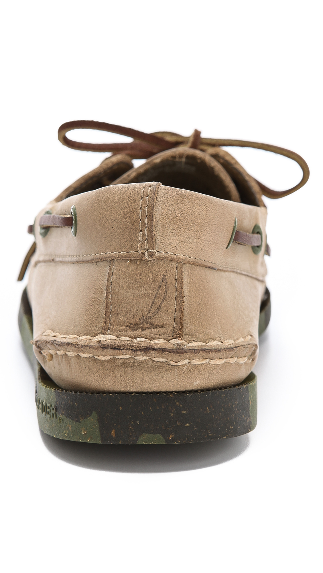 Sperry Top Sider Camo Sole Boat Shoes In Oatmeal Army