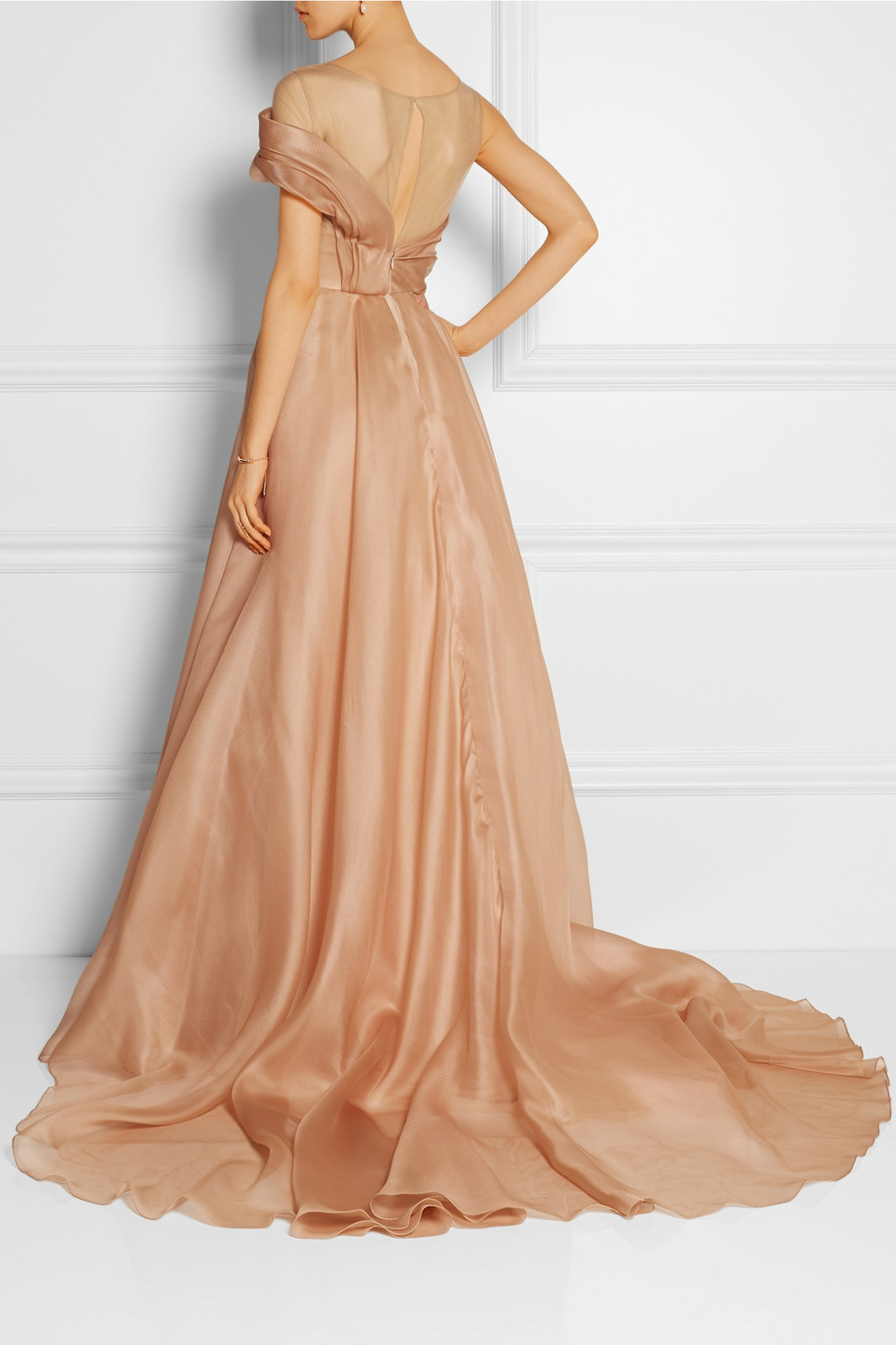 Marchesa Draped Tulle And Silk Organza Gown In Natural Lyst