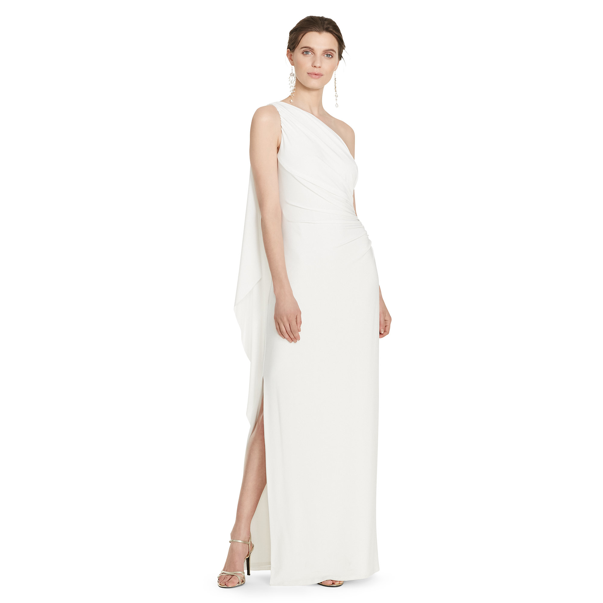 Lyst - Pink Pony One-shoulder Cape Gown in White