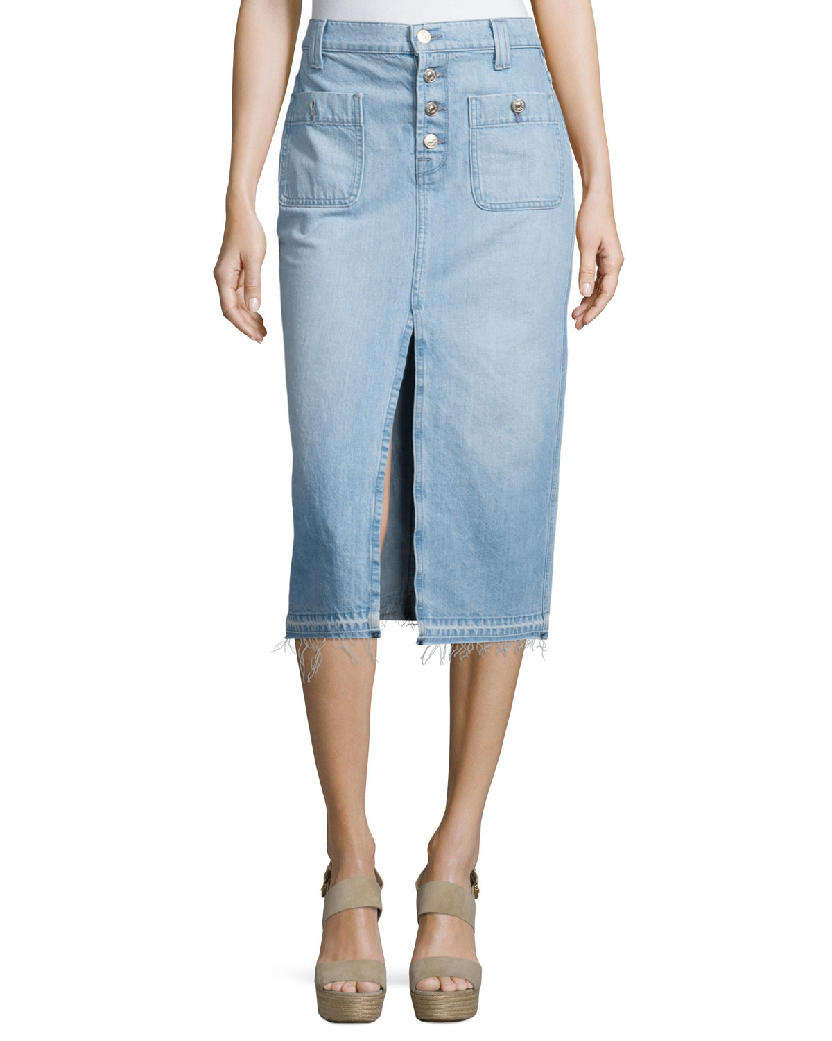 7 for all mankind exposed button denim skirt in blue