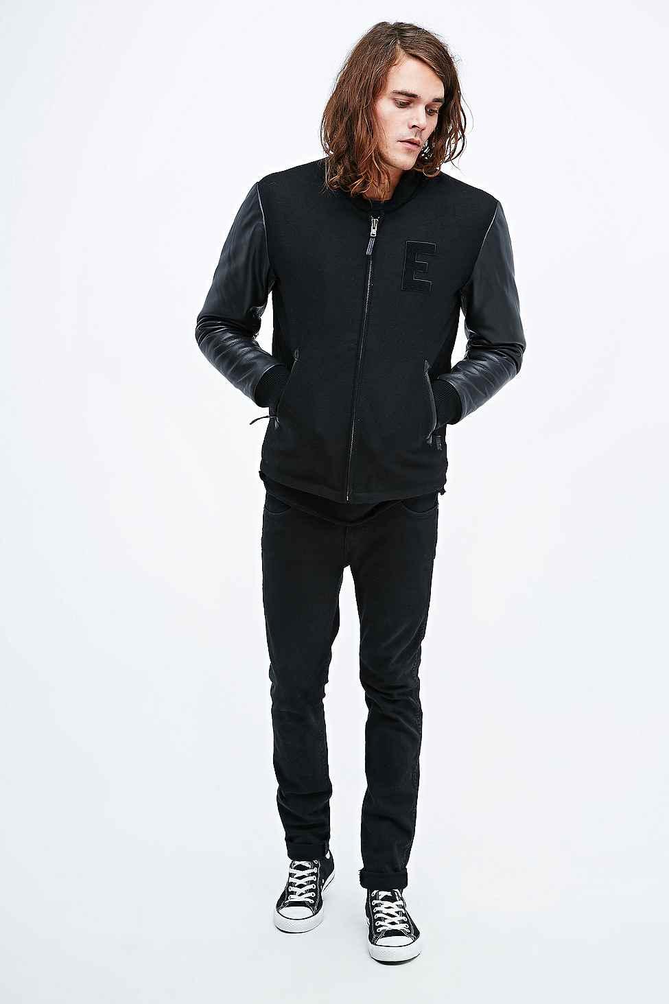 Leather Sleeve Baseball Jacket - Jacket
