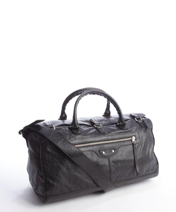 58b71fede38c Balenciaga Leather Squash S Braided Top Handle Travel Bag in Black ...