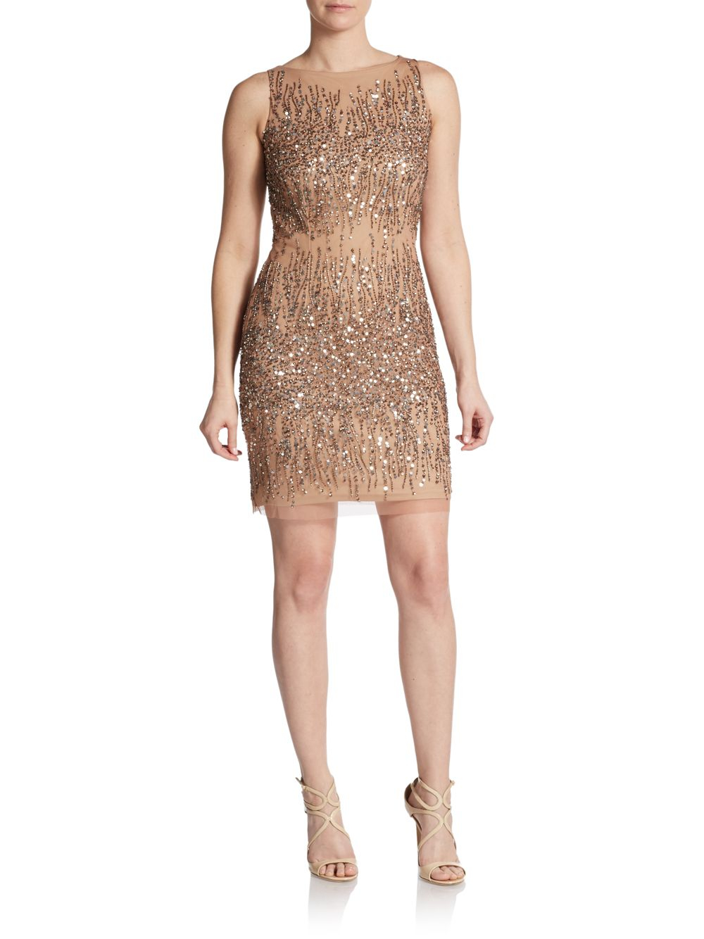 Adrianna papell embellished sleeveless sheath dress in for Adrianna papell wedding guest dresses