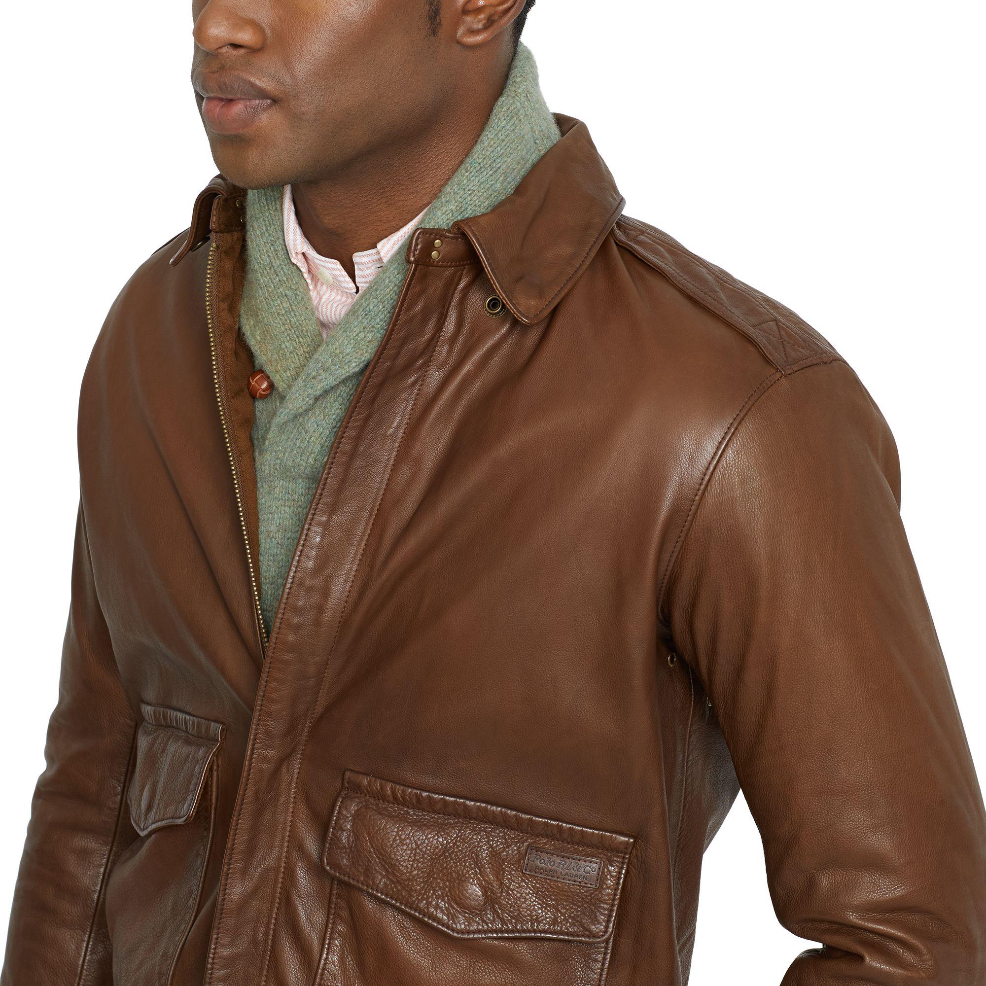 1458d8fb1 Polo Ralph Lauren Leather Farrington A2 Jacket in Black for Men - Lyst