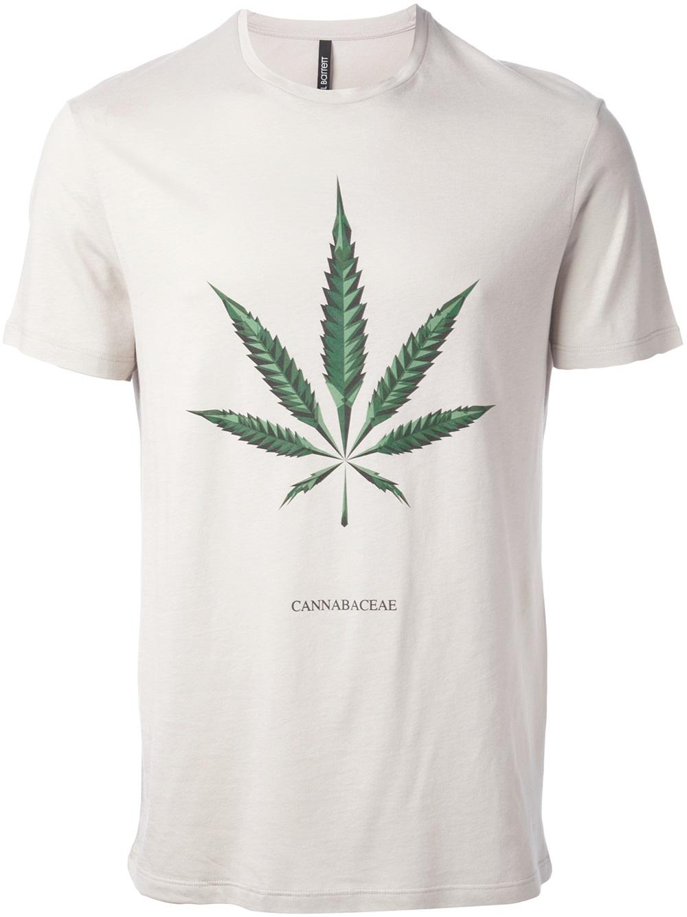 Lyst neil barrett 39 maria 39 hemp print t shirt in gray for men for Mens hemp t shirts