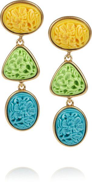 Oscar De La Renta 24karat Gold-Plated Carved Cabochon Clip Earrings in Multicolor (gold)