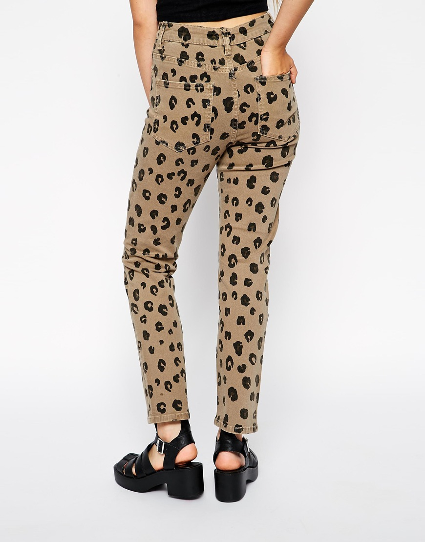 666be2584961 ASOS Farleigh High Waist Slim Mom Jeans In Leopard Print With Ripped ...