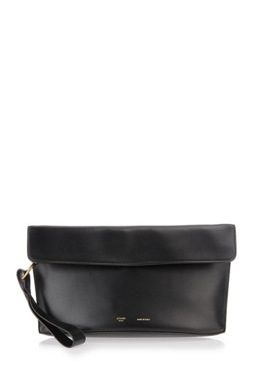 C¨¦line Black Leather Clutch With Wrist Strap in Black | Lyst