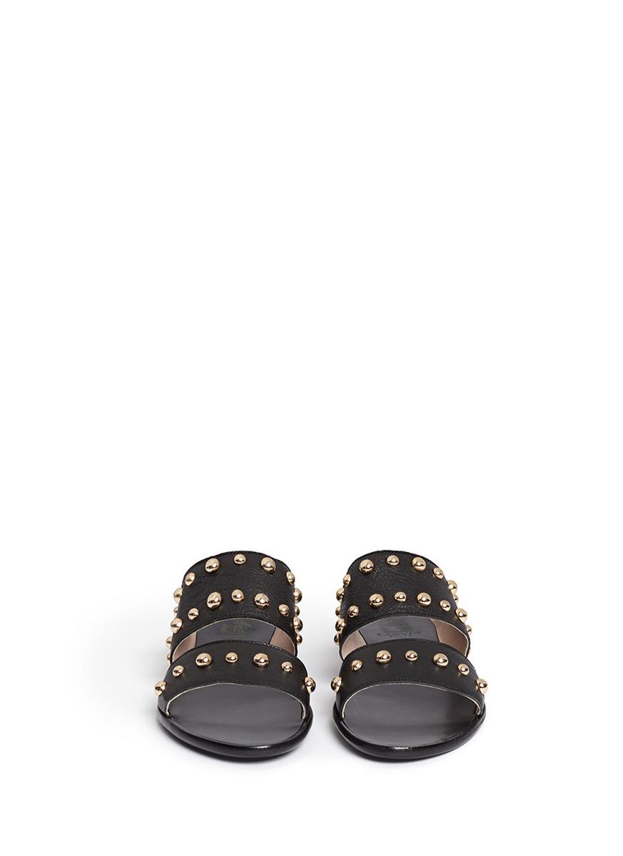 Lanvin Dome Stud Leather Slide Sandals In Black Lyst