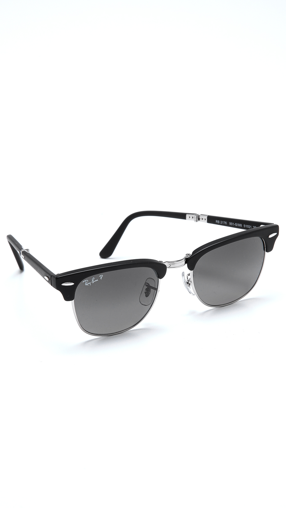 Ray Ban Clubmaster Folding Polarized Sunglasses In Black