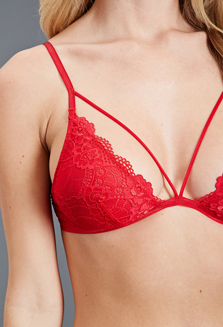55992b6497 Lyst - Forever 21 Scalloped Floral Lace Bralette in Red