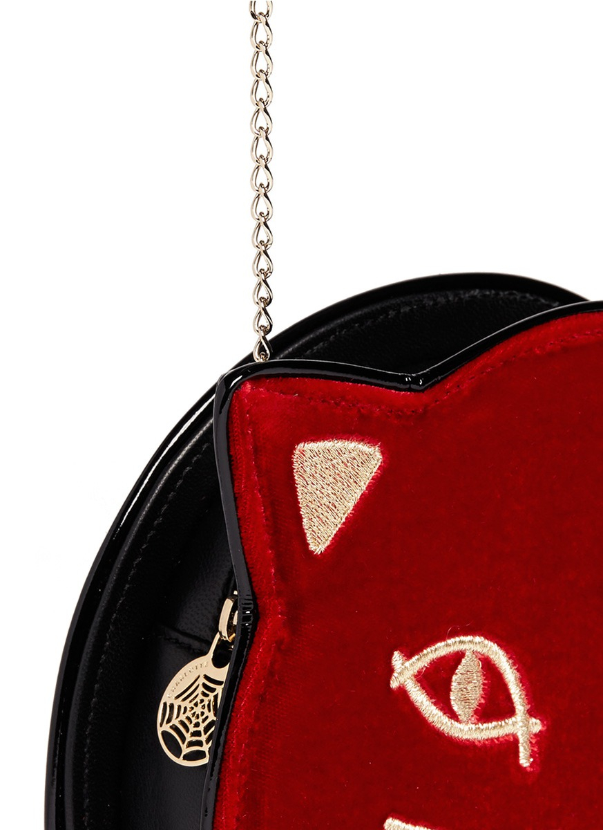 Leather Wine Carrier >> Charlotte olympia 'pussycat Purse' Velvet Crossbody Bag in ...