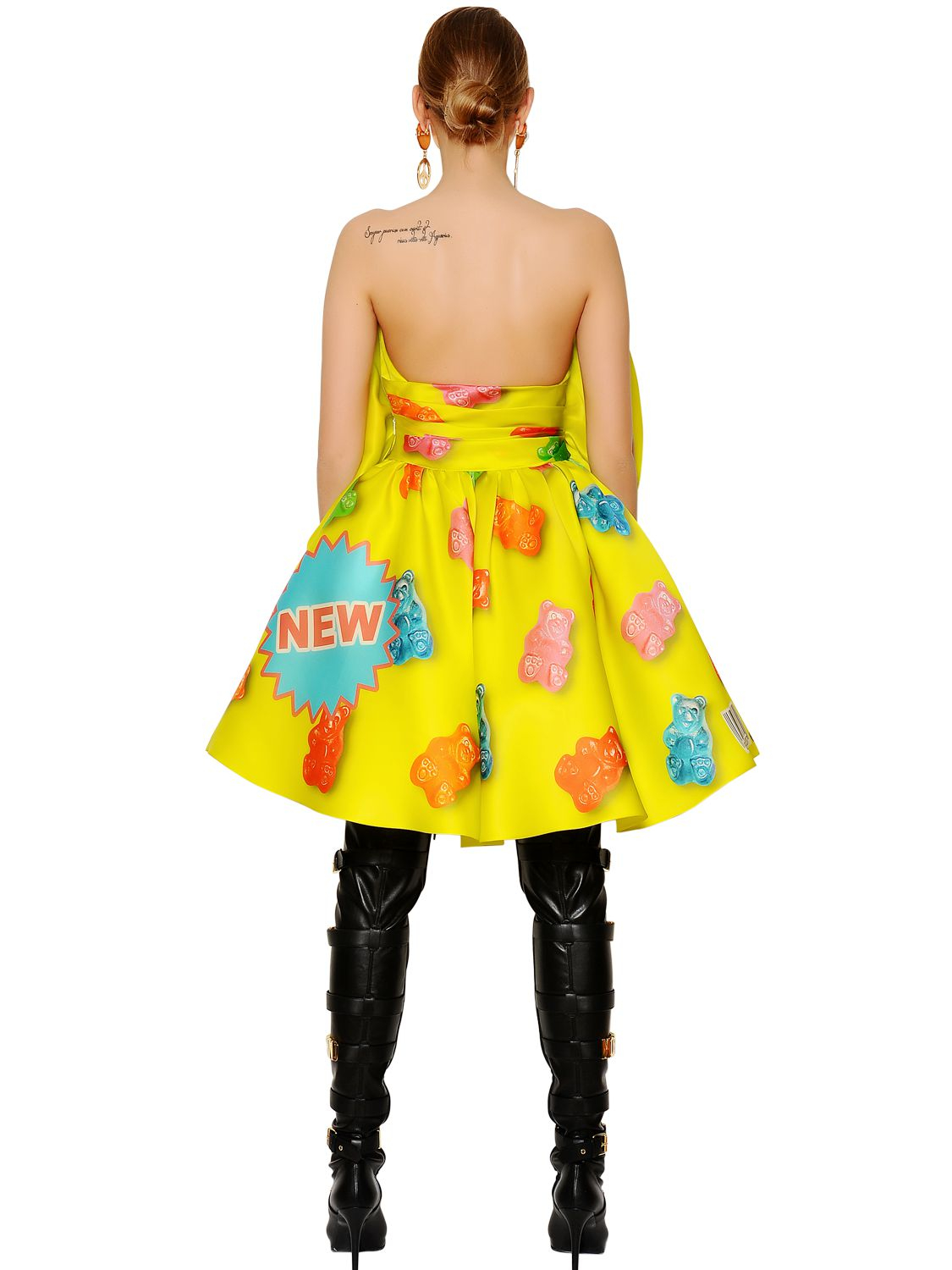 Moschino Candies Printed Heavy Silk Organza Dress in Lime Green (Green)
