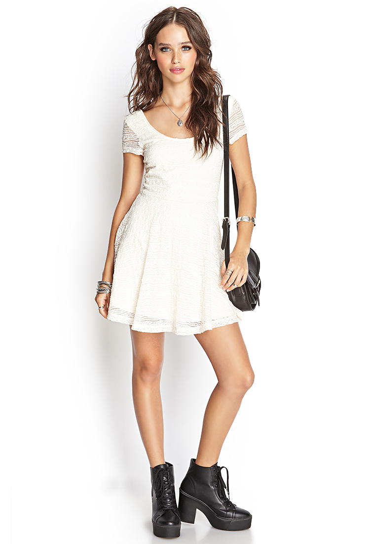 Lyst Forever 21 Lace Skater Dress In White
