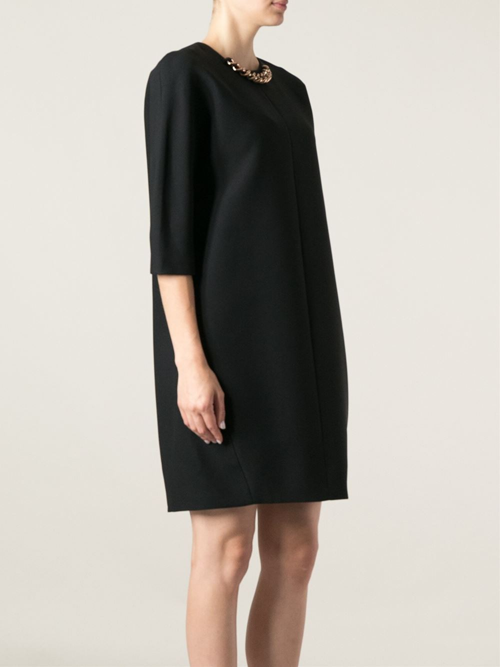 Lyst Victoria Beckham Chain Collar Dress In Black