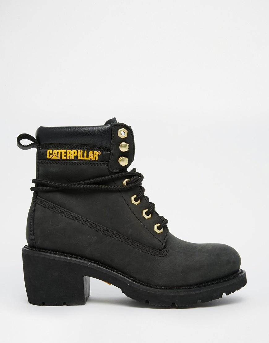 100bddd7625 Caterpillar Ottawa Black Heeled Leather Ankle Boots - Black in Black ...