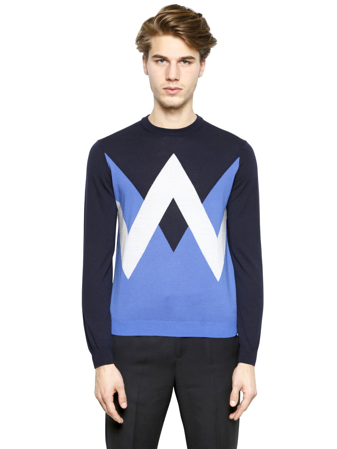 kenzo geometric wool sweater in blue for men navy lyst. Black Bedroom Furniture Sets. Home Design Ideas