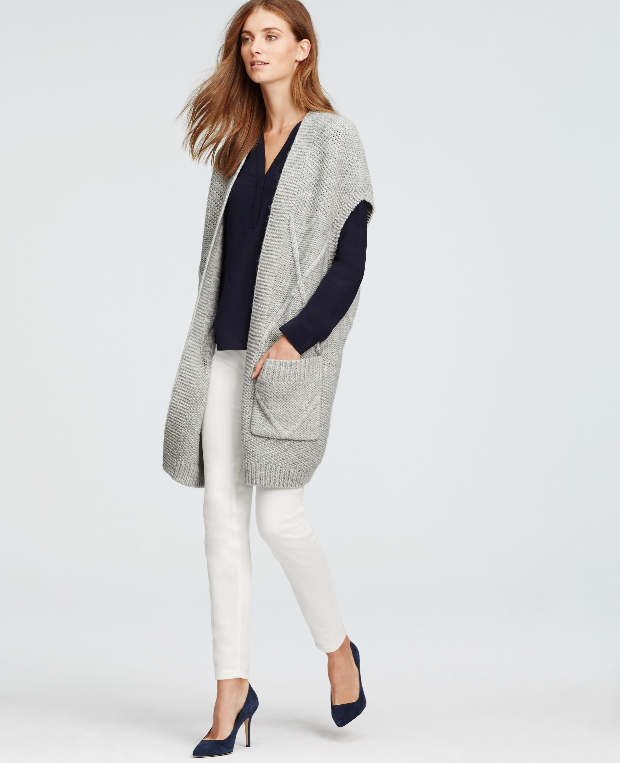 Ann taylor Long Sleeveless Cardigan in Gray | Lyst