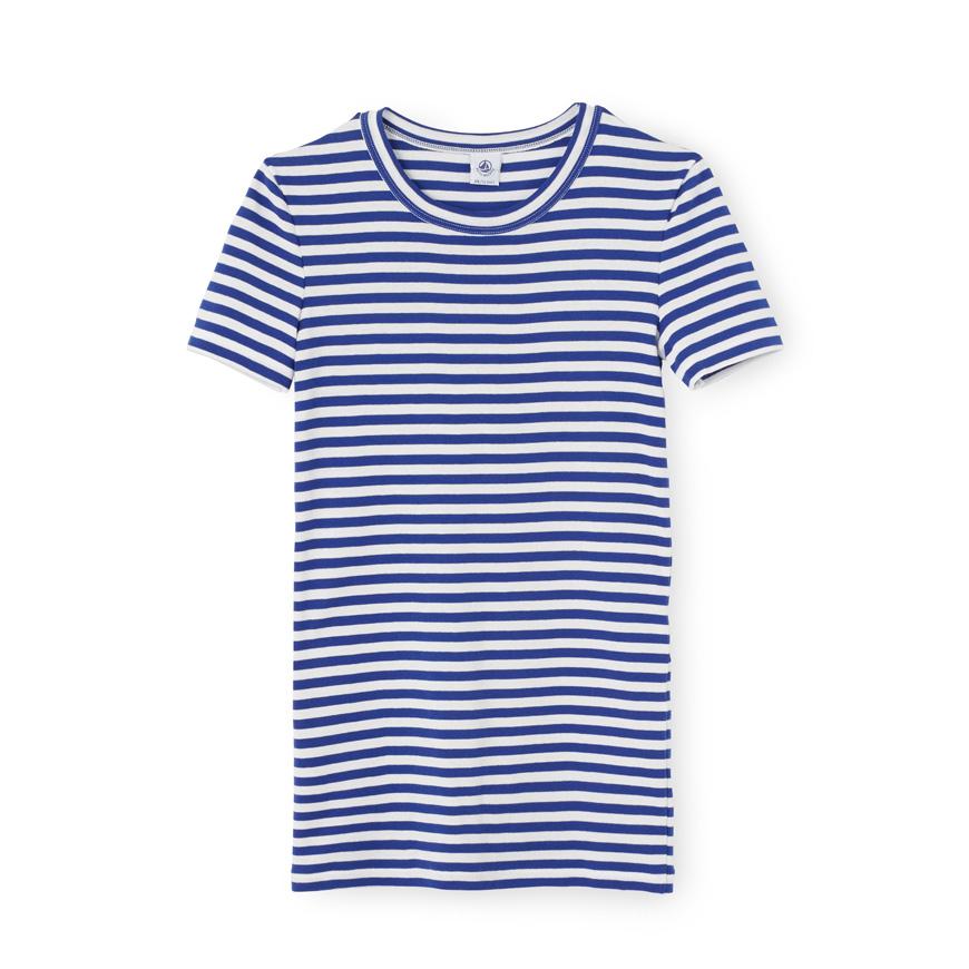 Petit bateau women 39 s striped tee in white lyst for Petit bateau striped shirt
