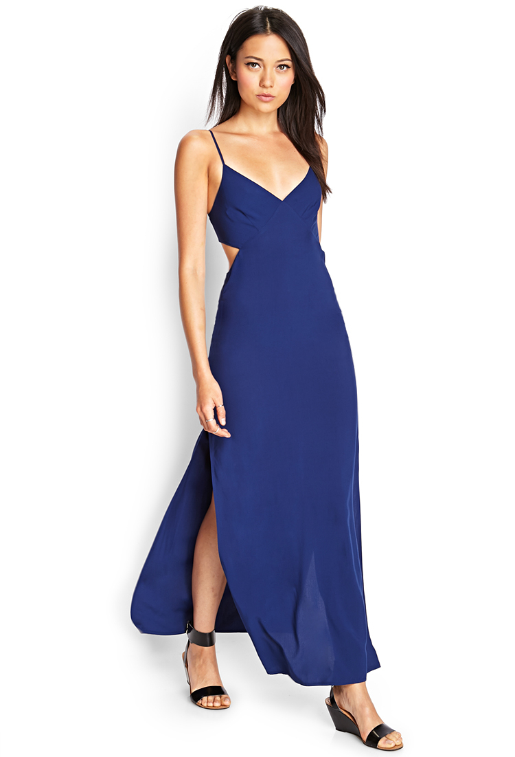 Forever 21 Cutout Maxi Dress in Blue | Lyst