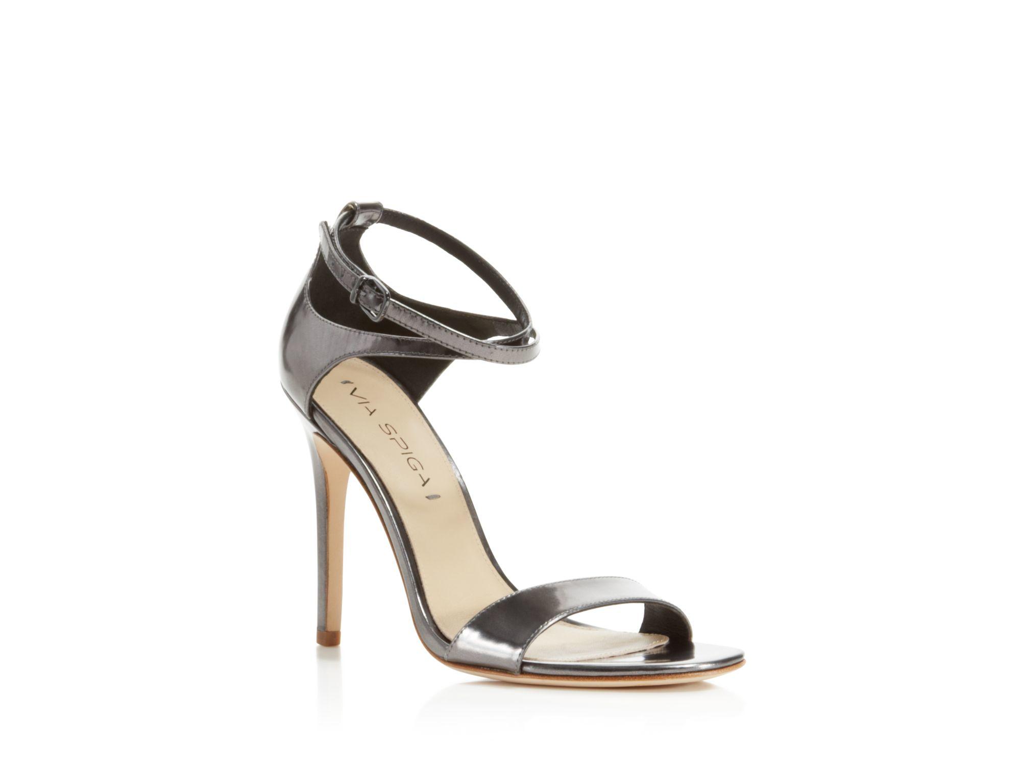 5efc6f196a6 Via Spiga Tiara Metallic Ankle Strap High Heel Sandals in Metallic ...