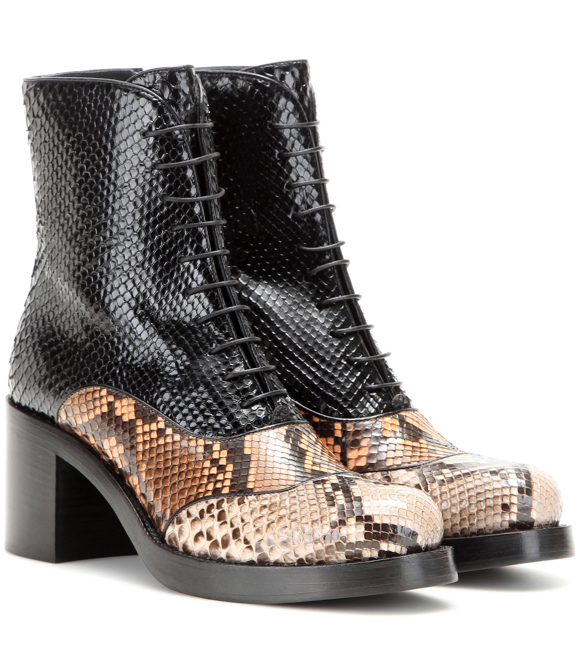 Miu Miu Leather Snakeskin Ankle Boots in Black