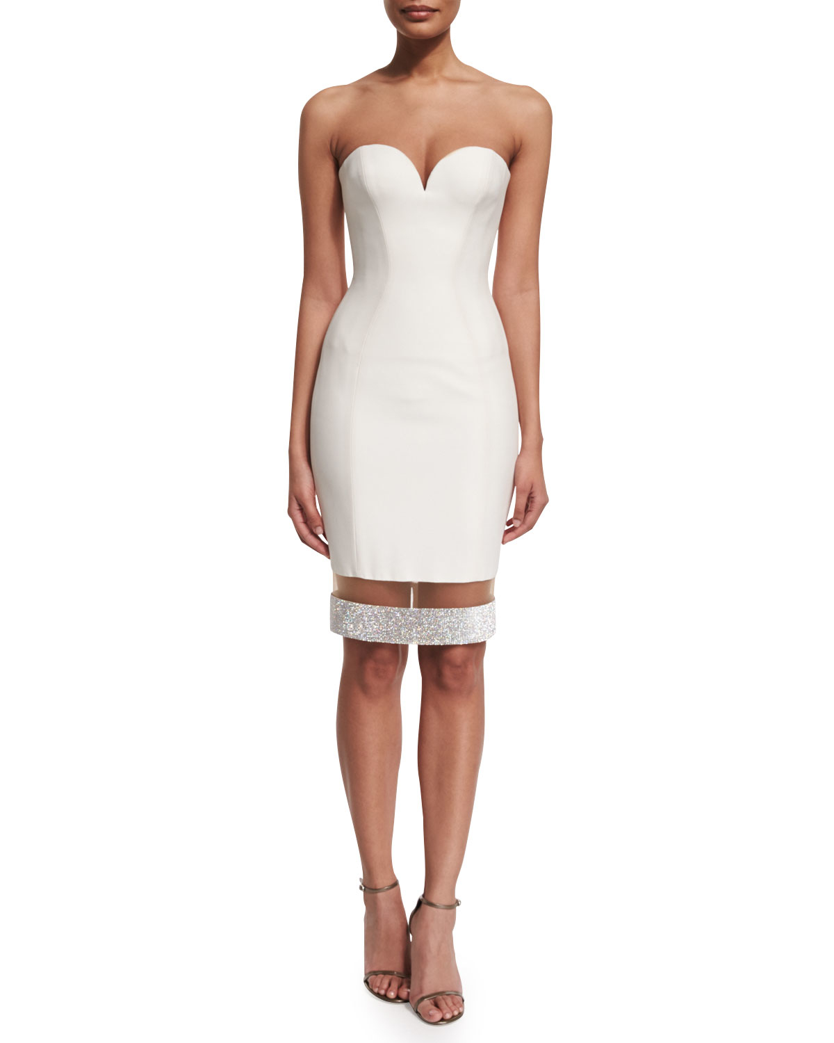 97f90482574 Versace Strapless Sweetheart Illusion-hem Cocktail Dress in White - Lyst